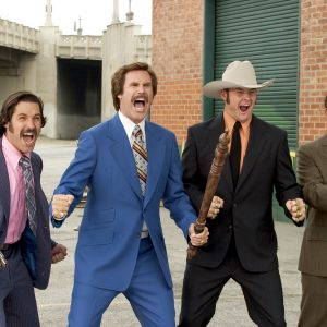 ORG XMIT: *S0409353341* (Left to right) Brian Fantana (PAUL RUDD), Ron Burgundy (WILL FERRELL), Champ Kind (DAVID KOECHNER) and Brick Tamland (STEVE CARELL) defend their turf as San Diego's top-rated news team in DreamWorks Pictures' comedy ANCHORMAN: THE LEGEND OF RON BURGUNDY.  08182005xQUICK Photo: Frank Masi, SMPSP 07232009xQUICK