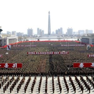 """This photo taken and released by North Korea's official Korean Central News Agency (KCNA) on March 29, 2013 shows a gathering at Kim Il Sung Square in Pyongyang to support the  statement of the Supreme Command of the North Korean Army and to win victory in the battle with the US and South Korea.  The White House said Friday it took a new warning from North Korea that it was in a state of war with South Korea seriously, but said Pyongyang's threats were following a familiar pattern.  THIS PICTURE WAS MADE AVAILABLE BY A THIRD PARTY. AFP CAN NOT INDEPENDENTLY VERIFY THE AUTHENTICITY, LOCATION, DATE, AND CONTENT  OF THIS IMAGE. THIS PHOTO IS DISTRIBUTED EXACTLY AS RECEIVED BY AFP.  AFP PHOTO / KCNA via KNS   RESTRICTED TO EDITORIAL USE - MANDATORY CREDIT  """" AFP PHOTO / KCNA via KNS """" - NO MARKETING NO ADVERTISING CAMPAIGNS - DISTRIBUTED AS A SERVICE TO CLIENTS"""