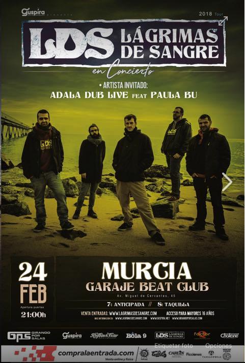 Lagrimas de Sangre repite en Murcia el 24 de febrero en Garaje Beat Club